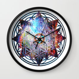 Flower of life Galactic Merkaba ;] Wall Clock