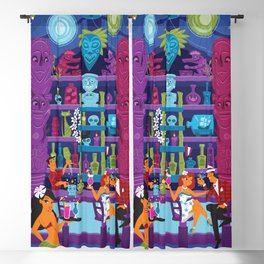 Enchanted Tiki night by Art of Scooter Mid Century Modern inspired art and merchandise  Blackout Curtain