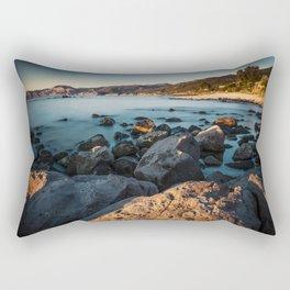 Photograph of a rocky coastline and beach Rectangular Pillow