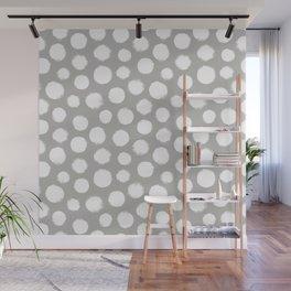 Gray & White Large Polka Dots  Wall Mural