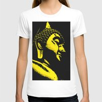 buddah T-shirts featuring Buddah Head 01; Gold  by Kether Carolus
