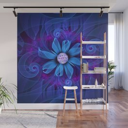 A Snowy Edelweiss Blooming as a Blue Origami Orchid Wall Mural