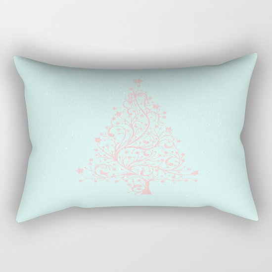 Merry christmas- Pink abstract christmastree on turquoise backround Rectangular Pillow