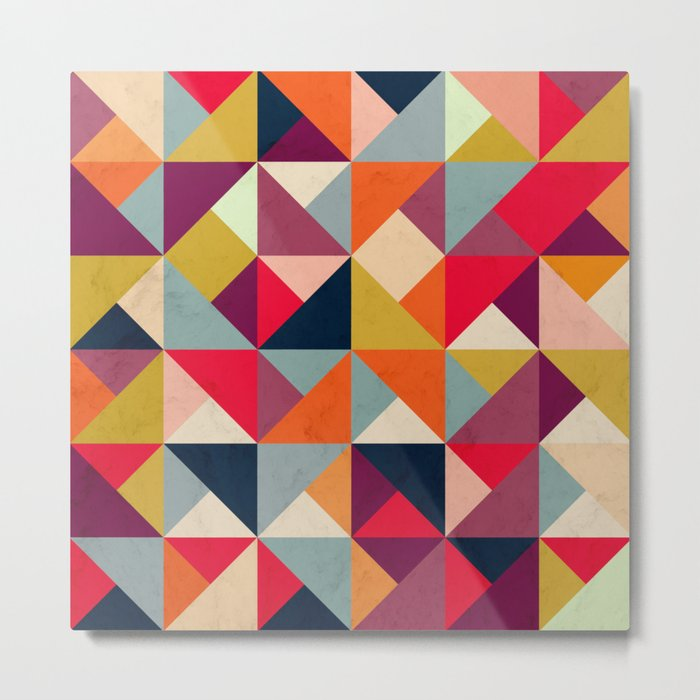Bright Geometric Happy Pattern Metal Print