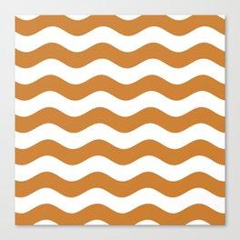 Wavy Stripes (Bronze/White) Canvas Print
