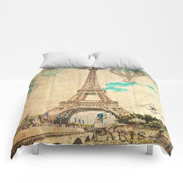 Vintage Eiffel Tower Paris Comforters