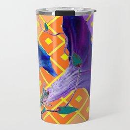 Aqua Purple Gold Morning Glories Travel Mug