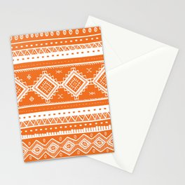 Tribal Aztec Lace Pattern (orange) Stationery Cards