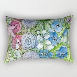 Rainbow Garden Watercolor Ink Painting Rectangular Pillow