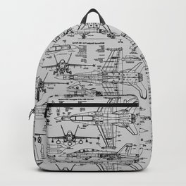 F-18 Blueprints // Light Grey Backpack