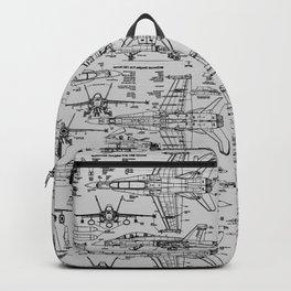 F-18 Blueprints // Light Grey Backpack