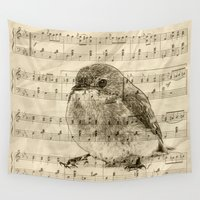 notebook Wall Tapestries featuring Songs of Birds by Nirvana.K