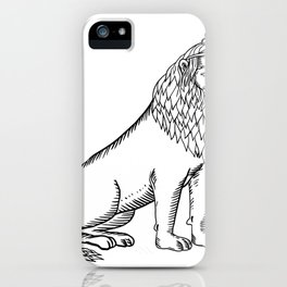 Etching style illustration of a blue male lion with red mane wearing a tiara or crown sitting down d iPhone Case