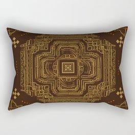 Golden Indian Stepwell Rectangular Pillow