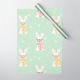 White rabbit Christmas pattern 001 Wrapping Paper