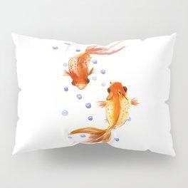 Goldfish, two fish, Koi Asian Style watercolor art, feng shui Pillow Sham