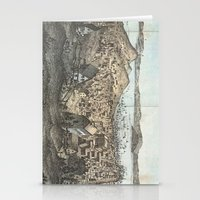 san francisco map Stationery Cards featuring Vintage Pictorial Map of San Francisco (1854) by BravuraMedia