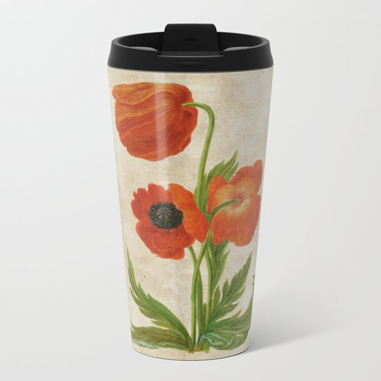 Vintage painting- Bunch of poppies Poppy Flower floral Metal Travel Mug