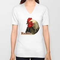 rooster V-neck T-shirts featuring Rooster by LudaNayvelt