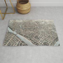 Vintage Pictorial Map of Lowell MA (1876) Rug