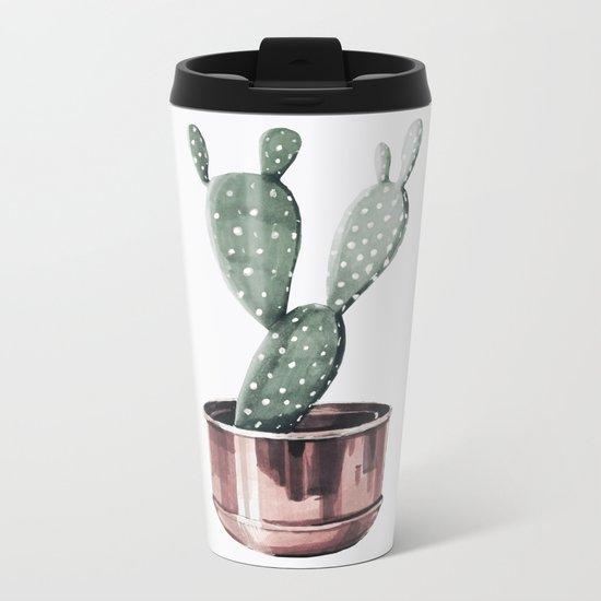 Potted Cactus Rose Gold Metal Travel Mug