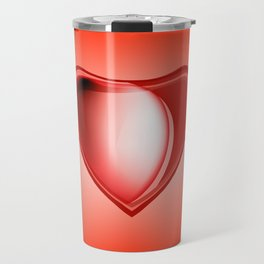 Icon hearts. Metal volume red heart with highlights on a red background Travel Mug