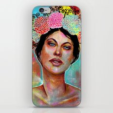 Flower Rainbow Girl in Mixed Media iPhone & iPod Skin