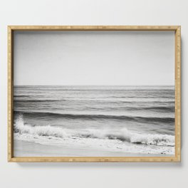 Black and White Ocean Photography, Grey Neutral Seascape Photo, Gray Sea Waves Coastal Picture Serving Tray