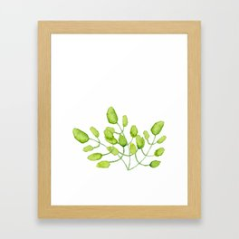 Watercolor green leaves Framed Art Print