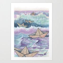 Paper ships and sea Art Print