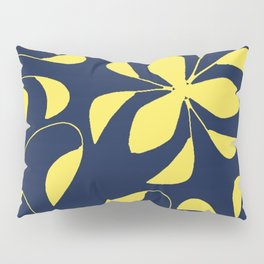 Leafy Vines Yellow and Navy Blue Pillow Sham