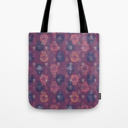 Lotus flower - mulberry woodblock print style pattern Tote Bag