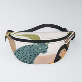 Girl and leopard Fanny Pack