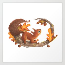 Squirrel and the autumn meal Art Print