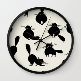 Funny big cats, seamless pattern for your design Wall Clock