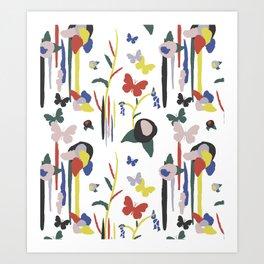 Rainbow Butterfly Lotus Garden Art Print