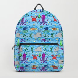 under the sea, whale, octopus, crab, fish, ocean, water,pattern,jellyfish Backpack
