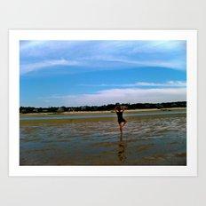 Beach Yoga Art Print