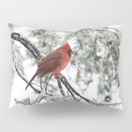 Wet Snow Cardinal (vertical) Pillow Sham