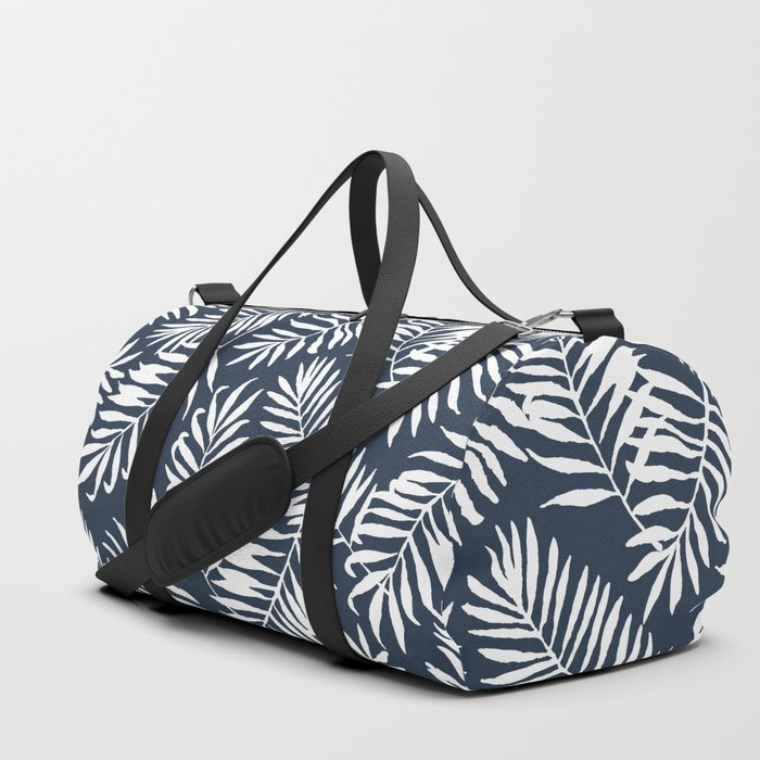 Tropical Palm Leaves - Navy Blue Duffle Bag