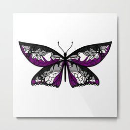 Fly With Pride: Asexual Flag Butterfly Metal Print
