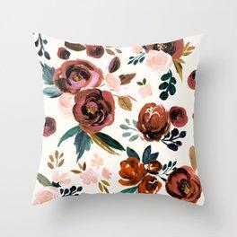Valentina Vintage Rust Rose Throw Pillow