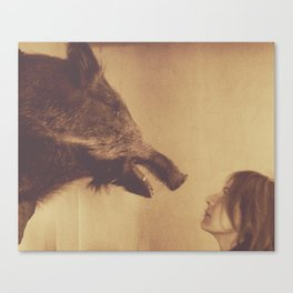 Portrait with a boar Canvas Print