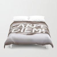 carpe diem Duvet Covers featuring Carpe Diem by Isaak_Rodriguez