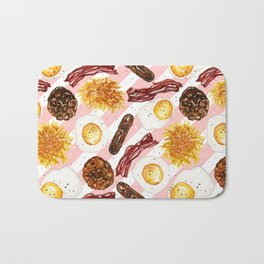 American Diner Breakfast on Red Bath Mat