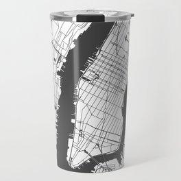 New York City White on Gray Street Map Travel Mug