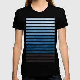 Watercolor Gouache Mid Century Modern Minimalist Colorful Green Blue Stripes T-shirt