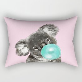 Playful Koala Bear with Bubble Gum in Pink Rectangular Pillow