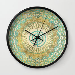 Pastel and Gold  Choku Rei Symbol in Mandala Wall Clock