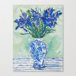 Iris Bouquet in Chinoiserie Vase on Blue and White Striped Tablecloth on Painterly Mint Green Canvas Print